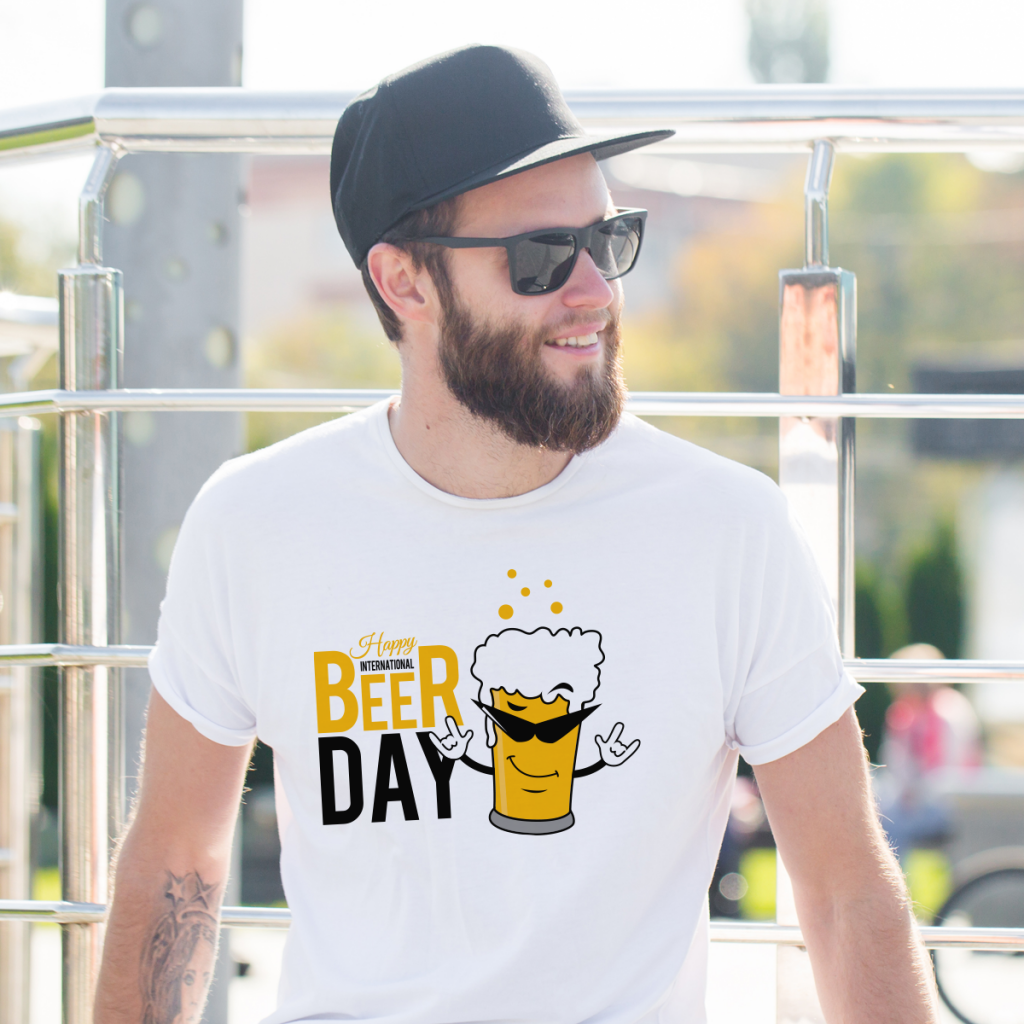 man wearing t-shirt with beer design