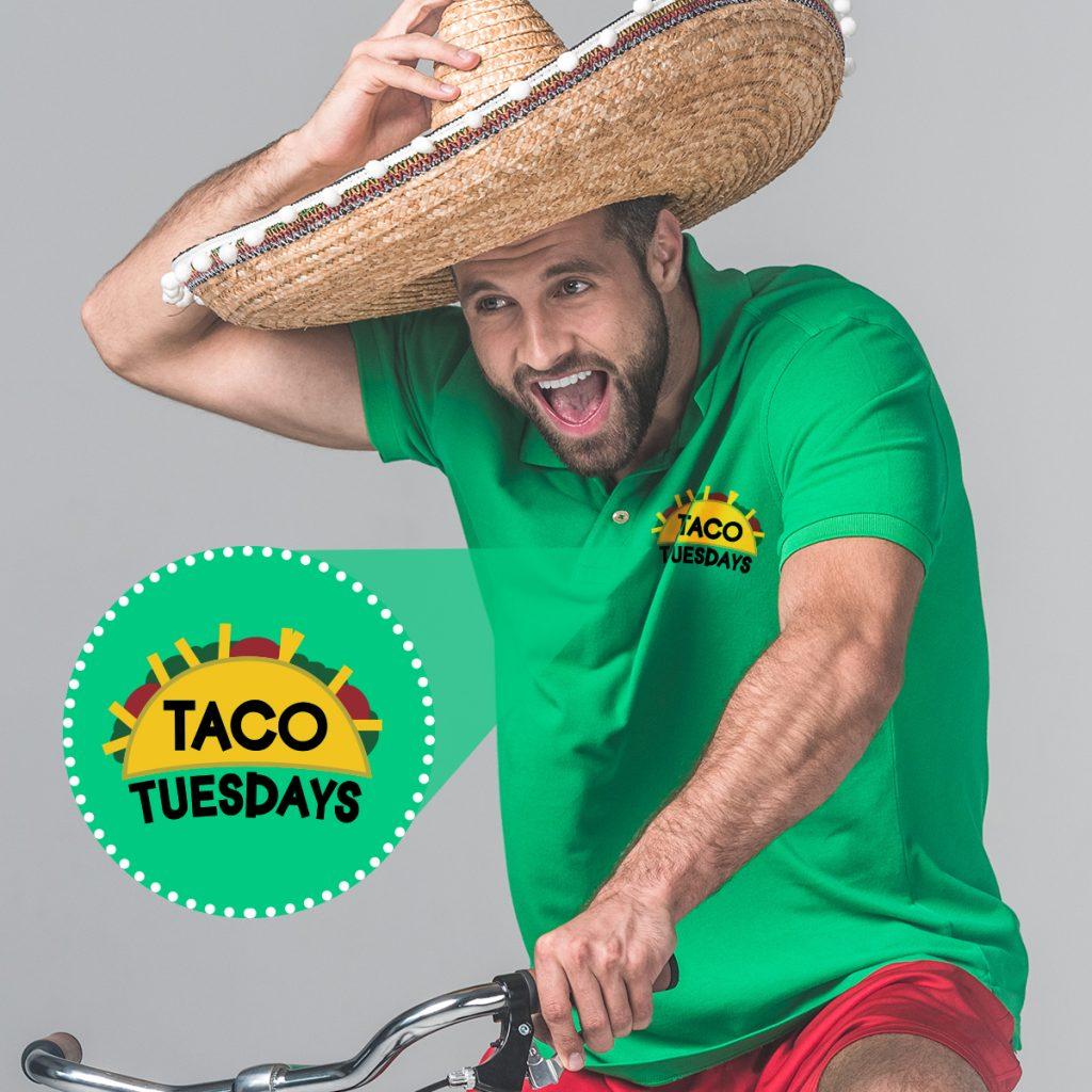 an adult man riding a bike dressed in cinco de mayo gear