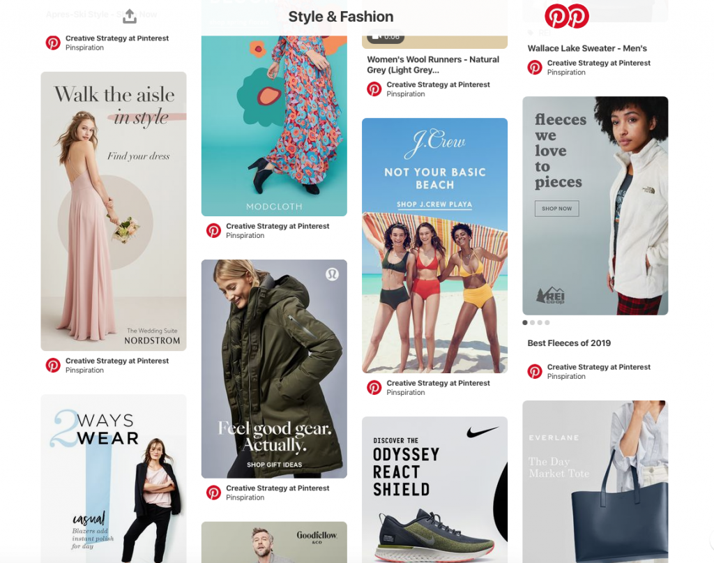 Examples of product images on Pinterest