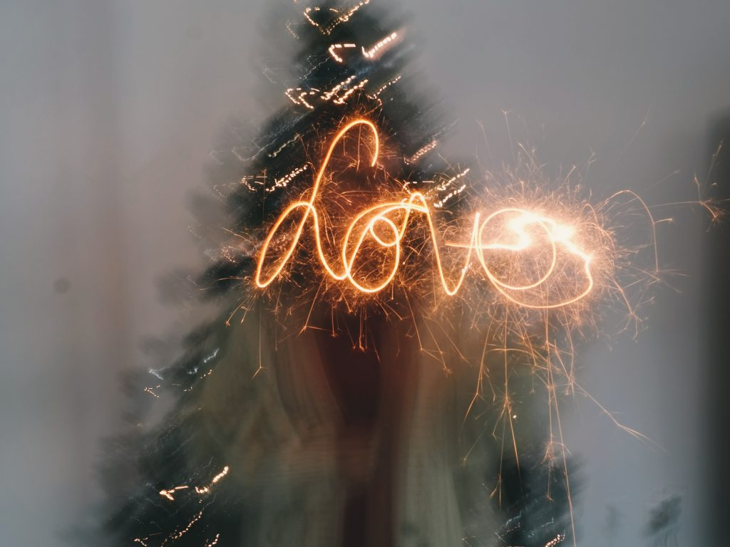 love sign made out of light and slow exposure